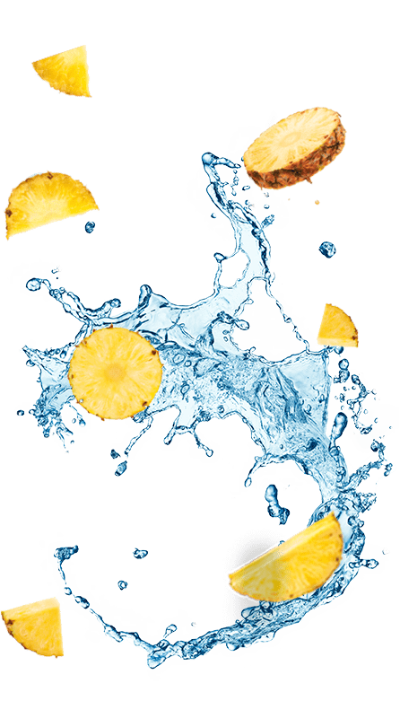 פלחי אננס ושפריץ של מים