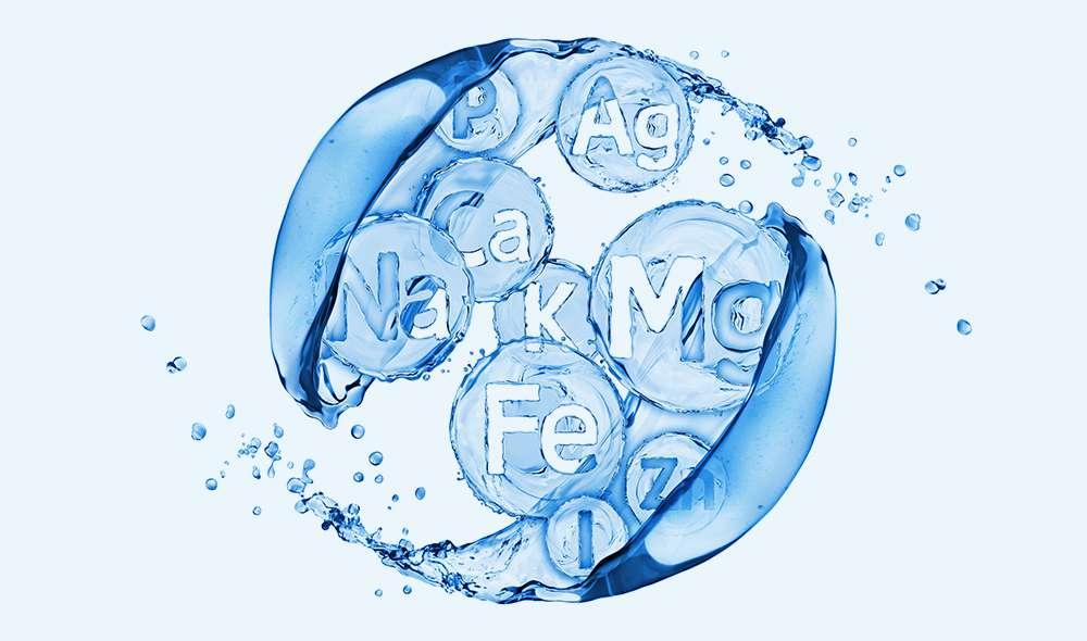 יסודות כימיים שונים בתוך גל מים, ביניהם מגנזיום